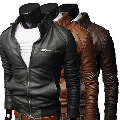 Men's Genuine Lambskin Leather Jacket Slim fit PU Biker Motorcycle Warm Coat