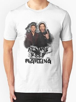 New Always Keep Fighting Men's White T-Shirt Size S to 2XL