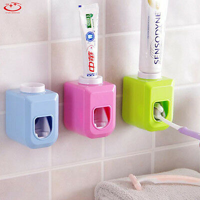 Automatic Toothpaste Dispenser Toothbrush Holder Set Wall Mount Stand Bathroom