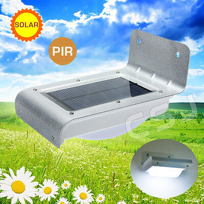 Super Bright 16 LED Solar Wall Garden Light PIR Motion Sensor Outdoor Path Fence