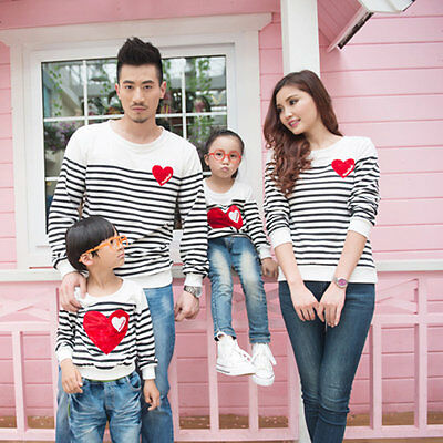 Family Matching Mommy & Me Clothes Cotton Long Sleeve Heart Embroidery Shirt AU
