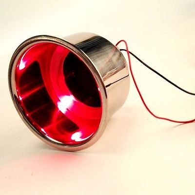 Red 3 LED Stainless Steel Cup Drink Holders with Drain&LED Marine Boat Rv Camper