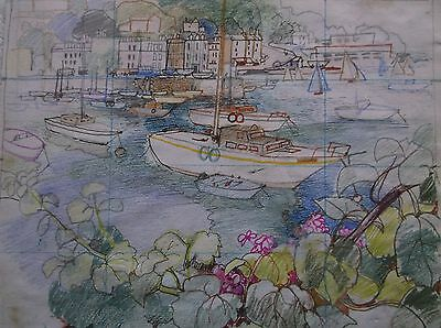 COLOURED GRAPHITE DRAWING by FREDERICK GEORGE WILLS 1901-1993 R.I. TORQUAY