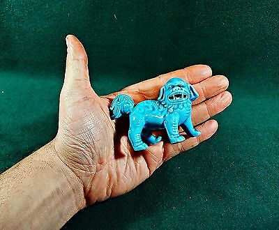 Antique Turquoise Glaze Porcelain Fu Foo Dog Dragon dog Statue Figure Rare Blue