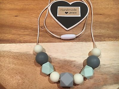 Silicone Sensory (was teething) Necklace for Mum Jewellery Beads Aus Gift Mint