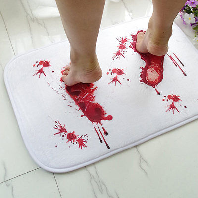 Bathmat Scare Your Friends Blood Bath Bathroom Bloody Footprint Mat Non-slip Rug