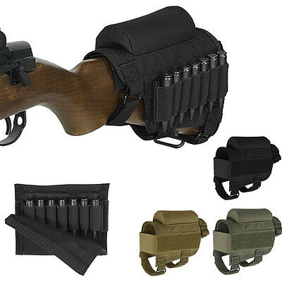 Adjustable Tactical Butt Stock Rifle Buttstock Cheek Rest Pouch Holder Pack