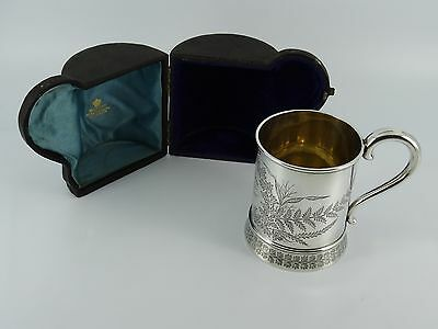 Victorian Solid Sterling Silver Christening Mug Cup London 1880 Cased 152G