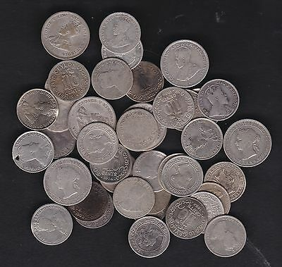 CEYLON, bulk lot of 44 early silver coins Queen Victoria to George vth,