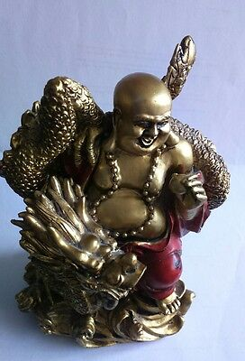 Laughing Buddha with Dragon Chinese Red And Gold Figure Religious Ornament Gift