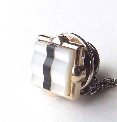 Vintage Tie Pin Tie Tac Gold Tone with Ridged Mother of Pearl MOP Face FREE P&P