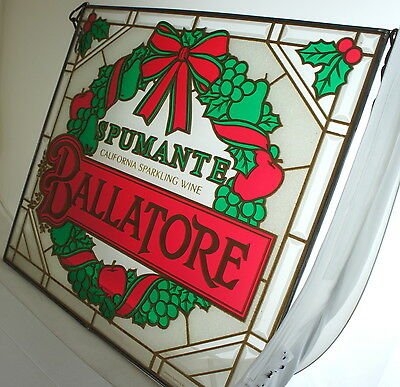 Vintage Spumante Ballatore California Sparkling Wine Stained Glass Sign