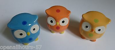 3 x GLAZED CERAMIC STONEWARE OWL DESIGN MONEY BOXES