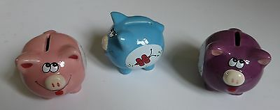 3 x GLAZED CERAMIC STONEWARE PIG DESIGN MONEY BOXES