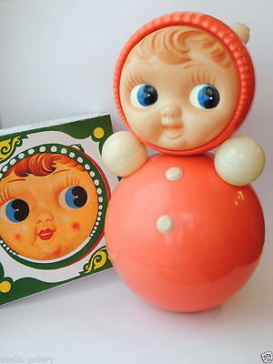 Huge Vintage Russian Nevalyashka Celluloid Plastic Roly Poly Toy Doll 40cm #8