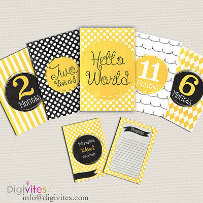 Baby Milestone Cards, Baby Moments and Milestones, Baby Shower, Announcement
