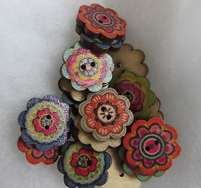 Wooden Flower Buttons Approx 2cm Assorted Colours and Pack Sizes