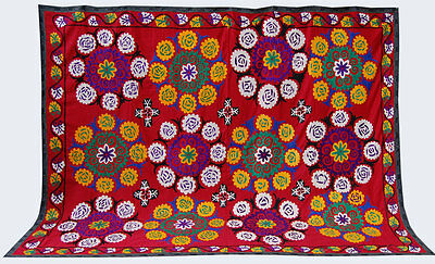 Large Uzbek Hand Embroidered Silk On Cotton Old Suzani Of Baysun Fun-462