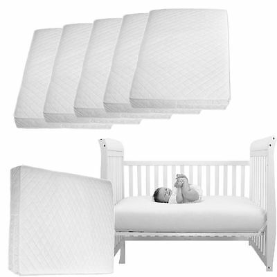 Baby Toddler Cot Bed Fully Breathable Foam Mattress&Waterproof QUILTED Zip Cover