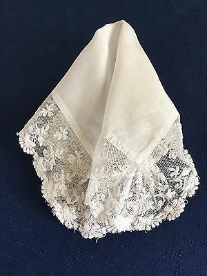 Vintage Ecru Cotton Lace Edged Handkerchief Wedding Bridal Craft