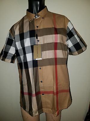 Burberry brit men's fred camel short sleeve button down exploded check shirt s,m