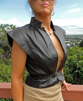 VINTAGE Saccardi 1970s-80s Original Moda In Pelle Rock Glam Leather Boho Vest