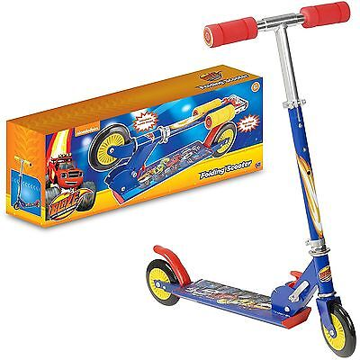 Blaze Folding Inline Kid's Scooter - Boys Fun Activity Outdoor Toy Foldable Blue
