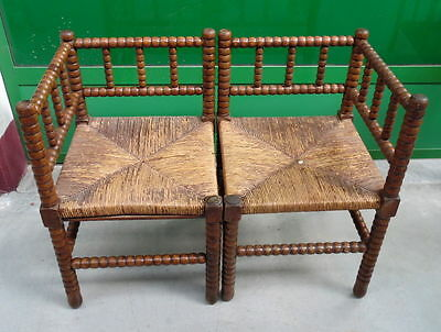 Antique Napoleon III Pair Angle Chairs Ultra Rare late 1800 solid beechwood