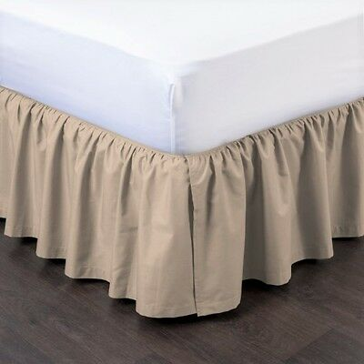 Taupe New 1pc 14 Drop Solid Plain Bed Skirt With Split Corners In All Sizes
