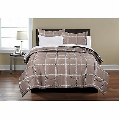 Mainstays Plaid Bed in a Bag New Complete Beige King Size Bedding Set All in One