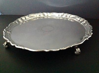 Large John Tuite Georgian Antique English Sterling Silver Salver London 1734