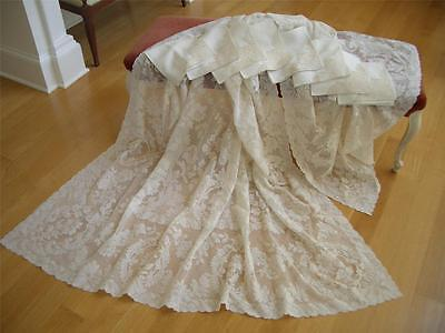 "LG 110""X70"" Antique VTG ALENCON LACE TABLECLOTH & 8PC NAPKIN SET *WEDDING VEIL"