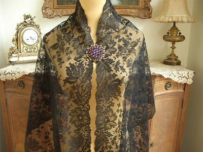 LONG Antique Vtg BLACK CHANTILLY LACE MOURNING STOLE SHAWL WRAP PANEL