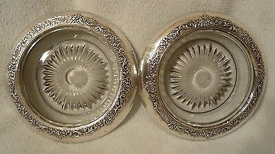2 Crosby Sterling Silver & Glass Coaster Dishes