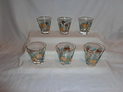Vintage Glass Libbey Turquois & Gold Pine Cone Juice Cocktail Glasses (6)