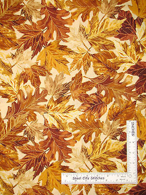 BENARTEX KANVAS STUDIO  AUTUMN BUTTERFLIES LEAVES GOLD ETCH FABRIC 1//2 YD 18X44/""
