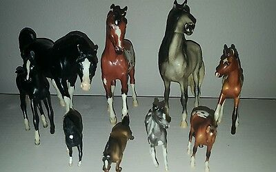 Breyer Horses Set Of 9 Various Breeds And Sizes And Colors Very Good Condition