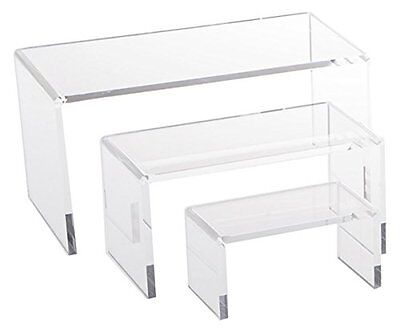 3 Set Small Acrylic Display Stand Makeup Jewelry Clear Riser Risers Stands New