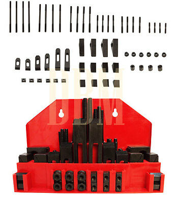 "52 PC Clamping Kit T-Slot 7/16"" End Clamp Flange Coupling Nut Step Block Set"