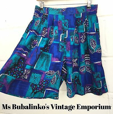 Vintage 90s Blue Abstract Pattern High Waist Culottes Shorts Size 12 14