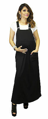 Long Hipster Overall Maternity Dress 90'S Black With Under Tee Vintage Hippie