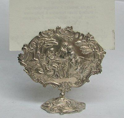 RARE 19th CENTURY DUTCH SILVER HEAD TABLE MARRIAGE SCENE PLACE CARD HOLDER