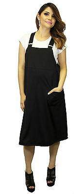 Mid Calf Hipster Overall Maternity Dress 90'S Black With Under Tee Vintage