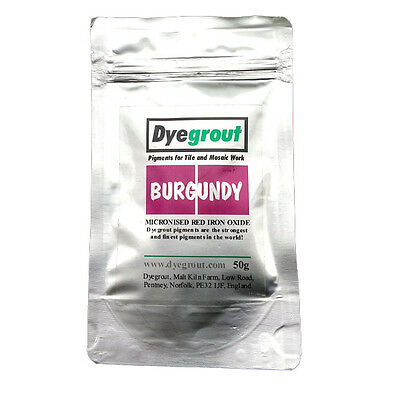 50 grams - Burgundy Grout Pigment for Mosaics Cement Dye by Dyegrout