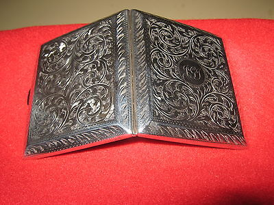 Super Quality 1922 Solid Silver Bespoke Card Case Stunning Chased Decoration.