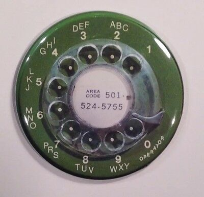 Telephone Dial 1960s Green Retro Vintage Fridge Magnet 2 1/4""