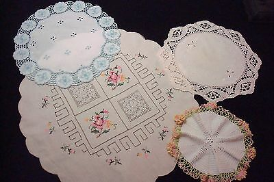 Lot of 4 Vintage Doilies With Surface Embroidery, Xstitch, Crochet, Pulled Work