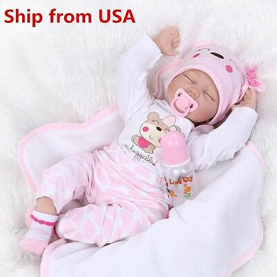 "22""Handmade Lifelike Baby Girl Doll Silicone Vinyl Reborn Newborn Clothes USA"