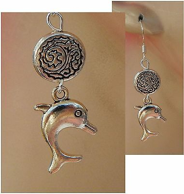 Silver Dolphin Charm Drop/Dangle Earrings Handmade Jewelry NEW Hook Accessories