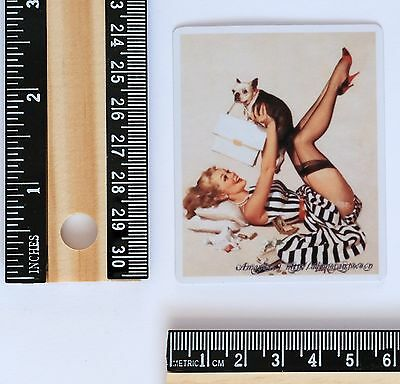 Sexy Pin Up stockings hottie girl and dog Vintage 6x6cm Decal sticker #2702